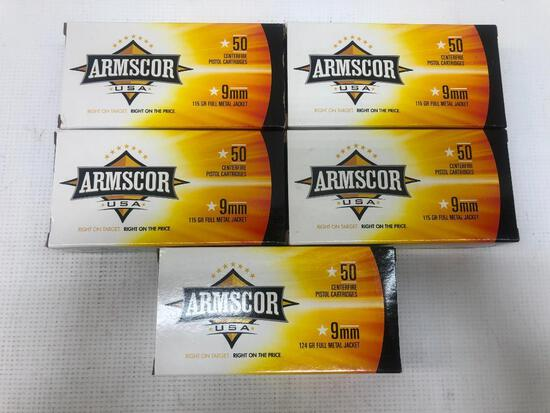 Armscor USA 9mm 115gr FMJ - 5 Boxes, 250 Total Rounds