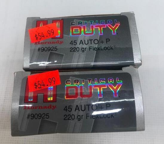 Hornady Critical Duty 45 AUTO + P 220gr FlexLock - 2 Boxes, 100 Total Rounds