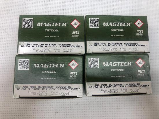 Magtech Tactical 300 AAC Blackout Subsonic 200gr FMJ - 4 Boxes, 200 Total Rounds