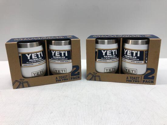 2 Items: YETI Rambler 2 Pack Wine Tumbler, White