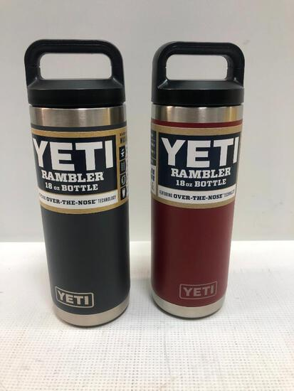 2 Items: YETI Rambler 18oz Bottle, Brick Red and Charcoal