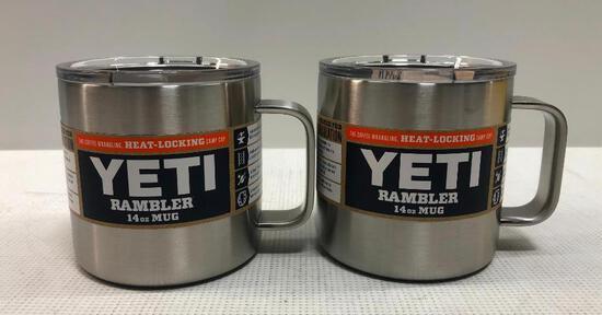 2 Items: YETI Rambler 14oz Mug, Stainless