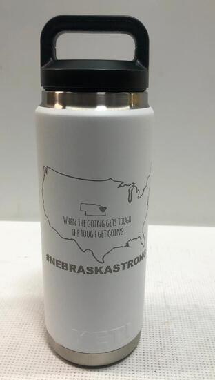YETI: Rambler 26oz Bottle, White with USA and Nebraska Shape