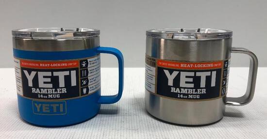 2 Items: YETI Rambler 14oz Mug, Stainless and Tahoe Blue