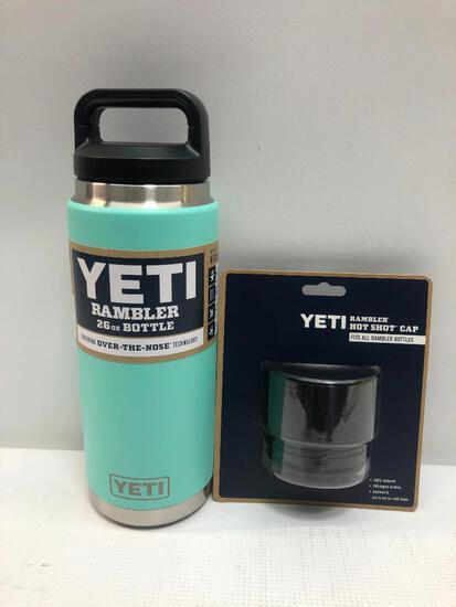 2 Items: YETI Rambler 26oz Bottle, Seafoam and YETI Rambler Hot Shot Cap Fits All Rambler Bottle