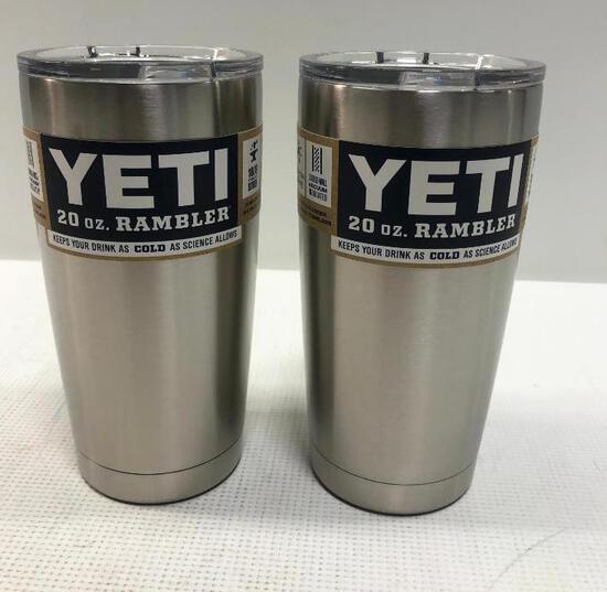 2 Items: YETI Rambler 20oz Tumbler, Stainless