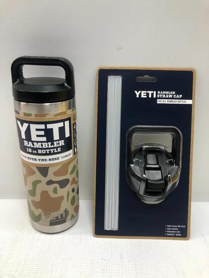 2 Items: YETI Rambler 18oz Bottle, Camo and YETI Rambler Straw Cap, Fits all Rambler Bottle, Black