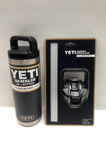 2 Items: YETI Rambler 18oz Bottle, Charcoal and YETI Rambler Straw Cap, Fits all Rambler Bottle,