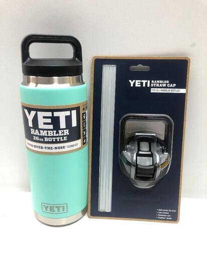 2 Items: YETI Rambler 26oz Bottle, Seafoam and YETI Rambler Straw Cap, Fits all Rambler Bottle,