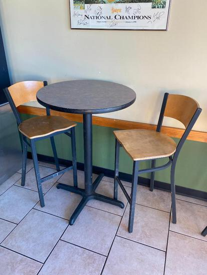 High Top Pub Table (29in x 43in) w/ 2 Bar Stools/Pub Chairs, Metal Bases, Laminate Tops, Sides,