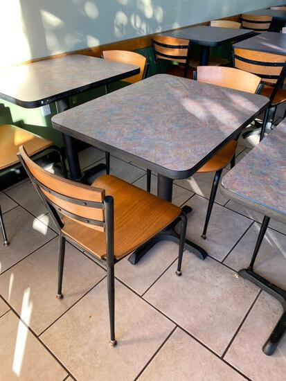 Restaurant Table & 2 Chairs, Pedestal Base, Laminate Top, Tables 30in x 24in & 29.5in H