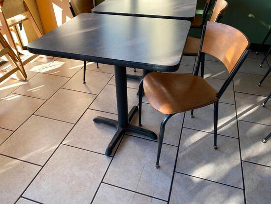 2 Restaurant Tables & 1 Chair, Pedestal Base, Laminate Top, Tables 30in x 24in & 29.5in H