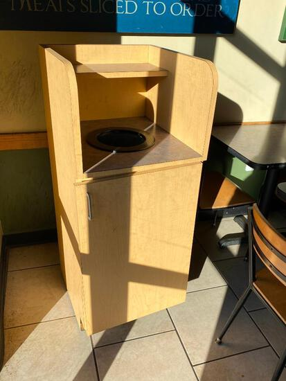 Trash Receptacle w/ Front Hinged Door for Can, Top Entry Chute w/ Slim Jim Trash Can