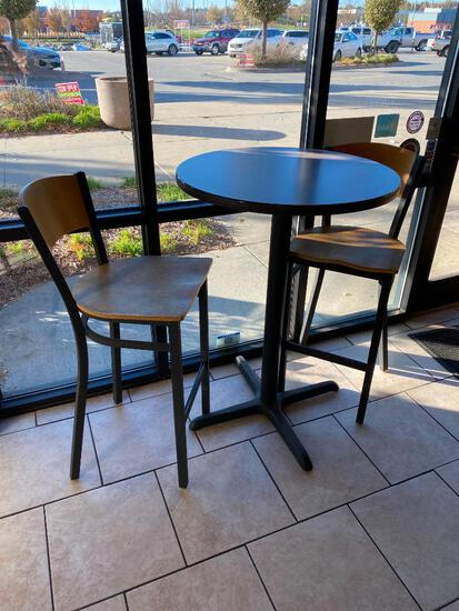 High Top Pub Table (29in x 43in) w/ 3 Bar Stools/Pub Chairs, Metal Bases, Laminate Tops, Sides,