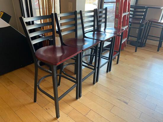 Pub Chairs, Modern, Metal Frame, Wood Seat, Ladder Back, 8 x's/$