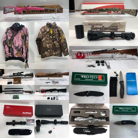 Hunting Firearms, Clothing, Knives, Scopes, Ammo