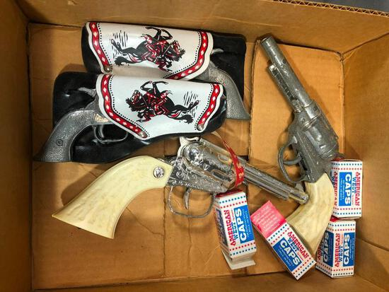 Box of Small Cap Guns, Caps Top Guns Jr and More