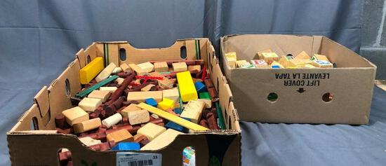2 Boxes Full of Lincoln Long Wood, Blocks and Wood Toys