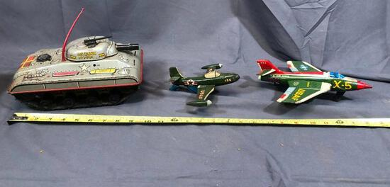 Marx Remote Controlled Tank- NO CONTROLLER and Tin X-5 Plane and Tin USAF Friction Plane 6'' Long