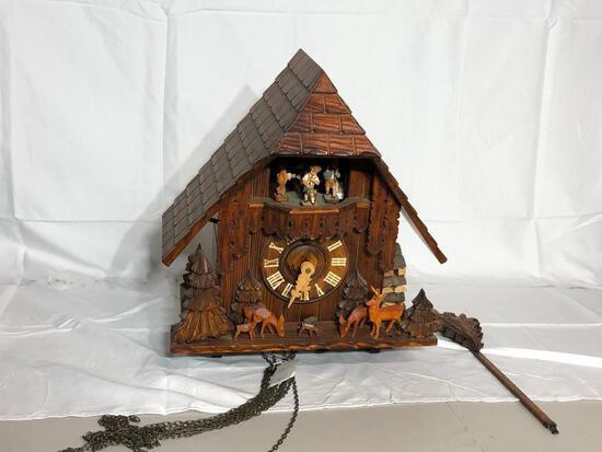 German or Swiss Cuckoo Clock w/ Deer & Children Theme, Complete