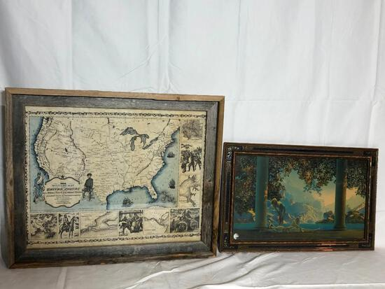 Maxfield Parrish Print & Frame and Civil Era Military Map