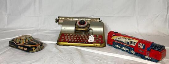 Vintage Tin Toys, Typewriter, Train, Tin Patrol Car