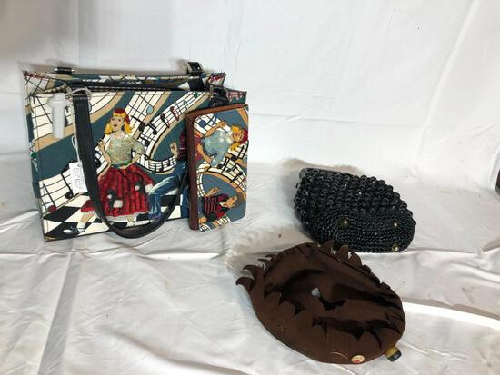 Vintage Purses and Clutch, Ladies Hat is Damaged
