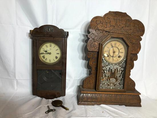 Ansonia Kitchen Clock (Top Wood Cracked), Older Clock & Pendulum/Key