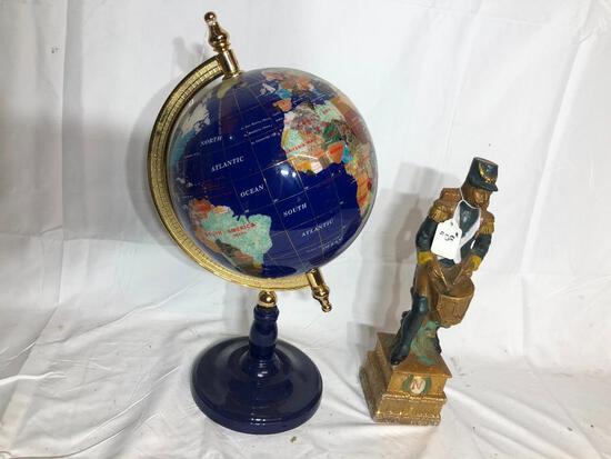Ornate Contemporary Globe 17in Tall, Liquor Decanter