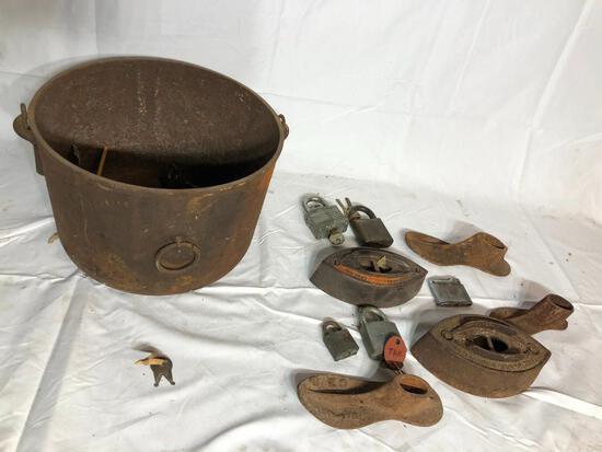 Cast Iron Kettle / Pot w/ Gate Mark, Cast Iron Shoe Horns & Sad Irons