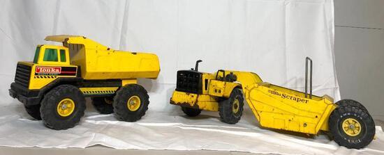 Tonka Mighty Diesel Dump Truck Metal Toy, Tonka Metal Scraper