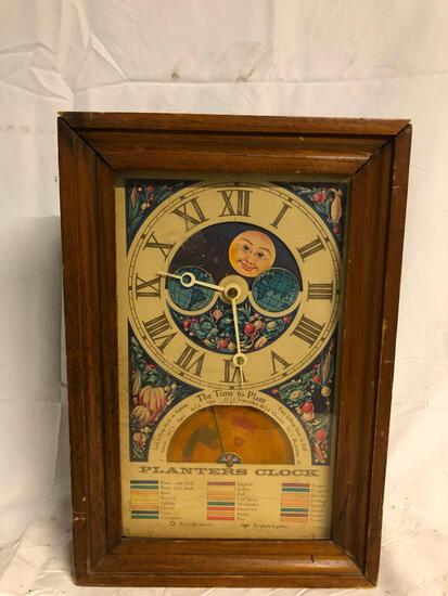 Vintage Wood Case Planters Clock w/ Chart & Graphics for Garden Time Planting