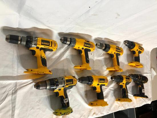 8 DeWalt Drills with no Batteries