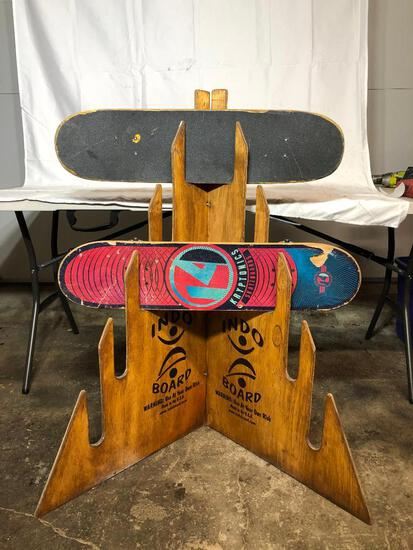 INDO Skateboard Store Display Holder and 2 Skate Boards