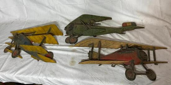 Set of 3 Vintage Metal Bi-Plane Single Prop Airplane Wall Hangers