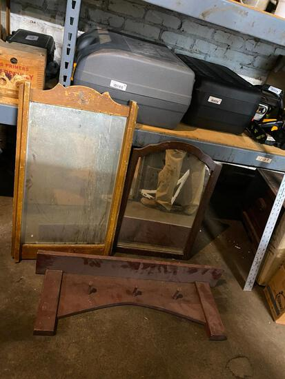 Lot of 3 Items, 2 Antique Mirrors and Wall Mounted Wood Shelf