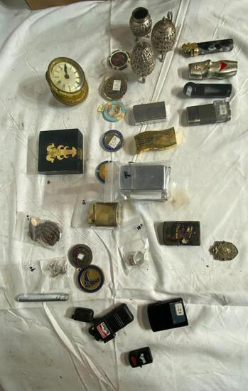 Vintage Cigarette Lighters, Several Zippo's, Poker Chips, Misc.