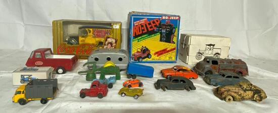 Box of Vintage Toys, Trucks, Cars, Misc.