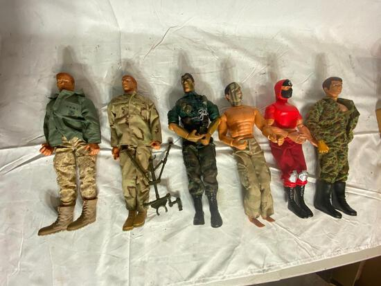 Six Large Vintage G.I. Joe Action Figures