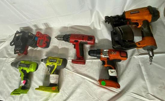 Cordless Battery Operated Tools, Some Batteries, Charger