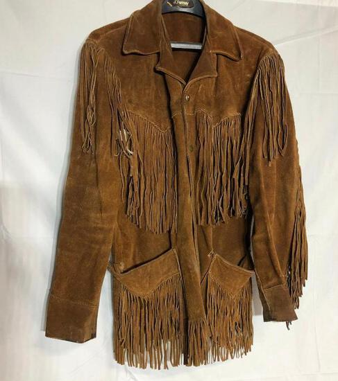 Vintage Leather Fringed Jacket, Possibly Handmade