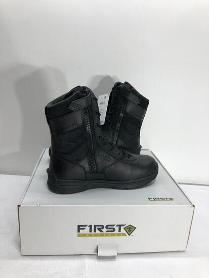 "First Tactical Men's 8"" Side Zip Duty Black Boots Size 10"
