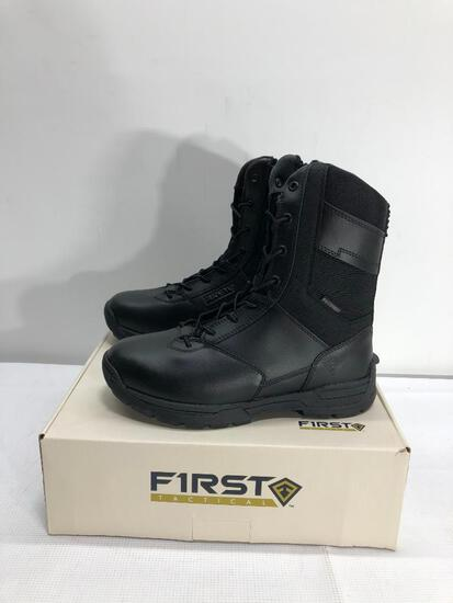 "First Tactical Women's 8"" Waterproof Side Zip Duty Black Boots Size 8, MSRP: $129.99"