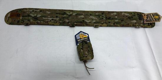 Lot of 2 Items: (1) High Speed Gear Sure-Grip Padded Medium Belt, (1) High Speed Gear Handcuff Taco
