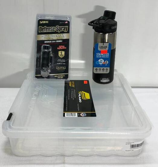 Lot of 3 Items: (1) Plano XL Prolatch Stowaway Storage Box, (1) Sabre Defense Spray w/ Quick Release