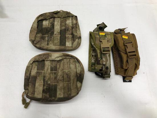 Lot of 4 Items: (1) High Speed Gear Tan Belt Mount, (1) High Speed Gear Camo Belt Mount, (2) Condor