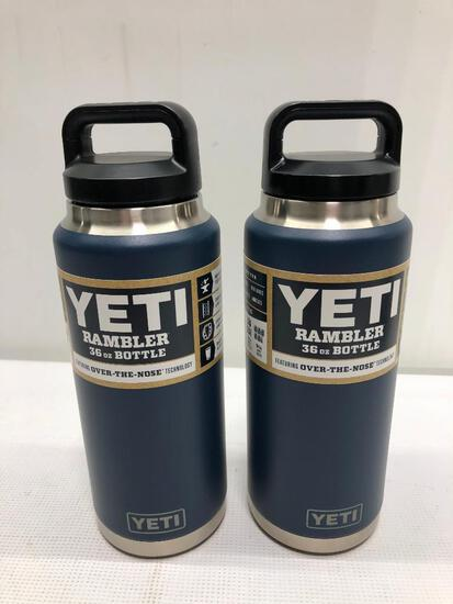 Lot of 2 Items: (2) Yeti Rambler Navy 36oz Bottle