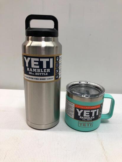 Lot of 2 Items: (1) Yeti Rambler 36oz Bottle, (1) Yeti Rambler 14oz Seafoam Mug