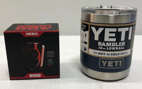 NEBO Micro400 Lumen Keychain Flashlight, YETI Rambler 10oz Lowball Navy