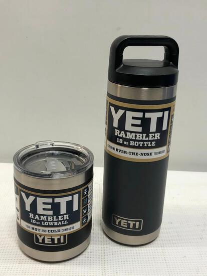 2 YETI Items; 18oz Rambler Bottle (Charcoal), 10oz Rambler Lowball (Black)
